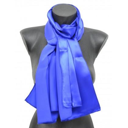 Echarpe en soie bleu-roi