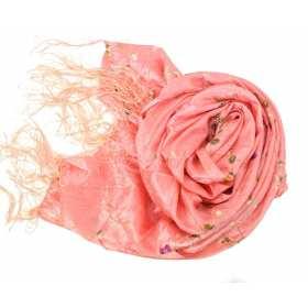 Echarpe en taffetas brodé vieux rose