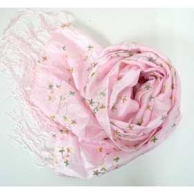Echarpe en taffetas brodé rose clair