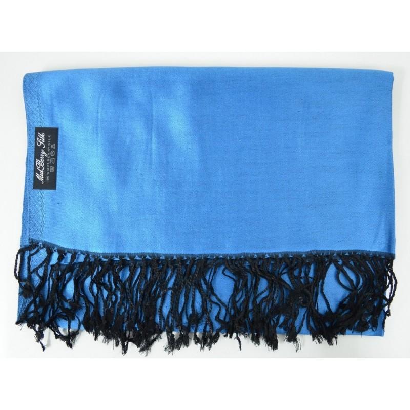Etole en soie bleu foncé et noire