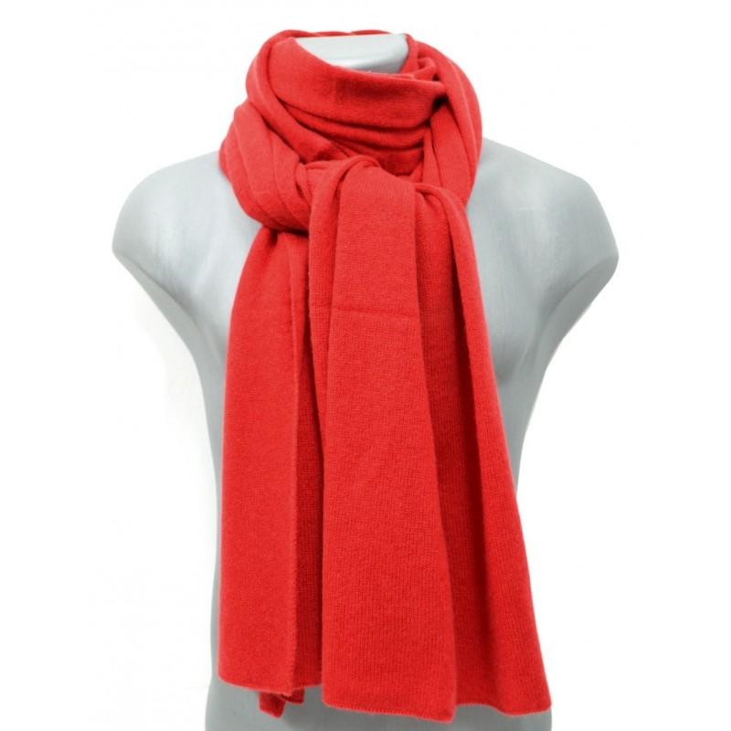 Echarpe en cachemire tricoté rouge