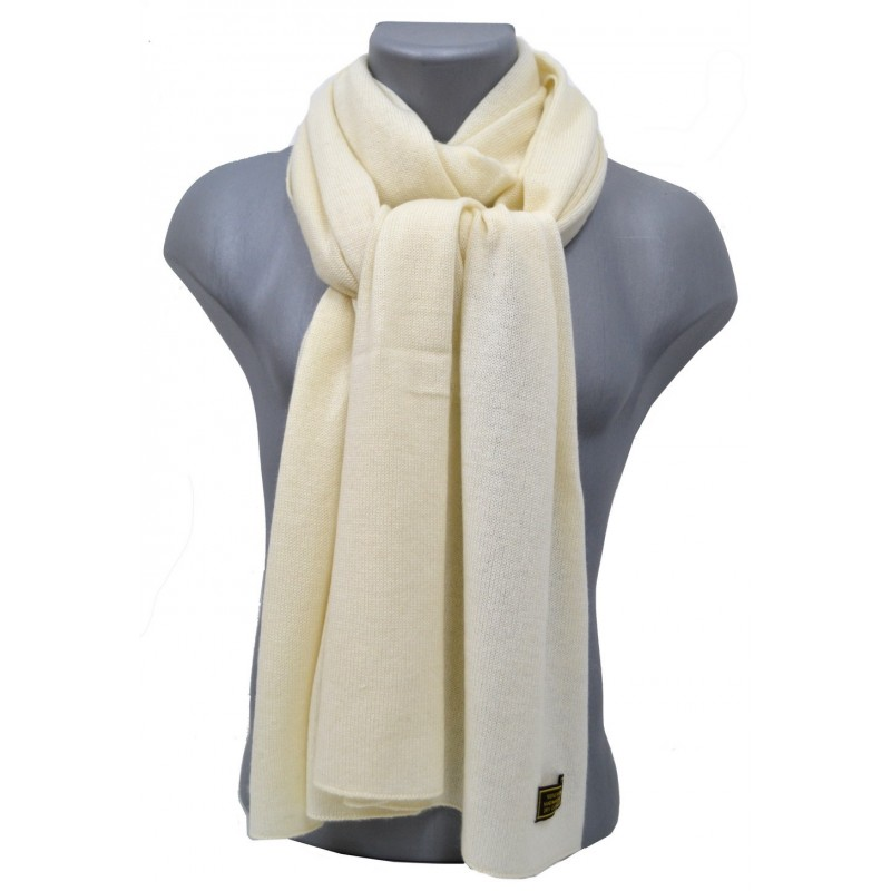 Echarpe en cachemire tricoté écrue