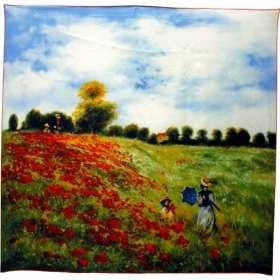 Carré à motif tableau de Monet Champ des coquelicots