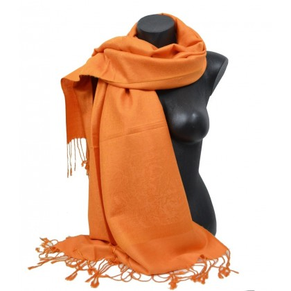 Echarpe type pashmina orange