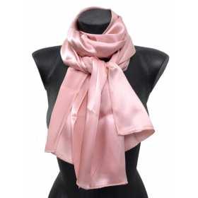 Echarpe en soie rose poudré