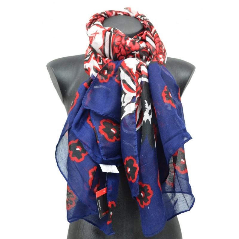 Cheche femme bleu et rouge