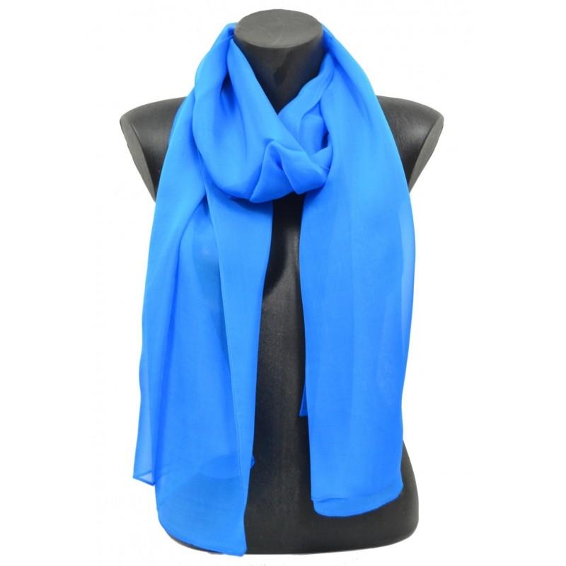 Echarpe mousseline de soie bleu