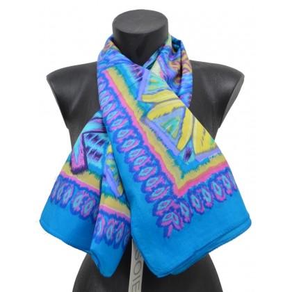 Foulard carré en soie ethnic bleu
