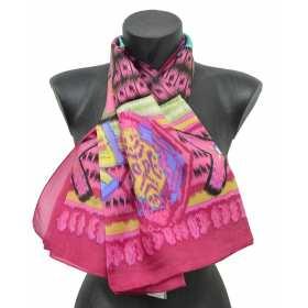 Foulard carré en soie ethnic rose