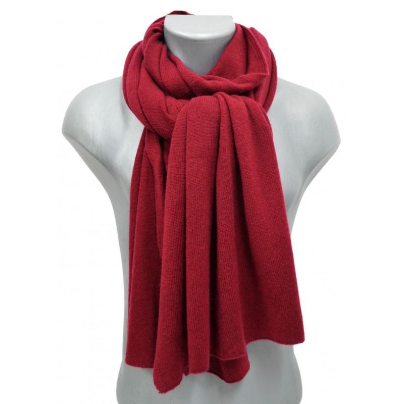 Echarpe en cachemire tricoté bordeaux