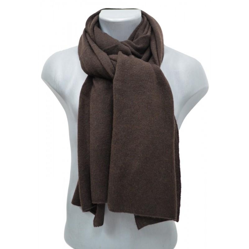Echarpe en cachemire tricoté marron