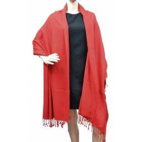 Grande étole 90X200 soie et cachemire rouge