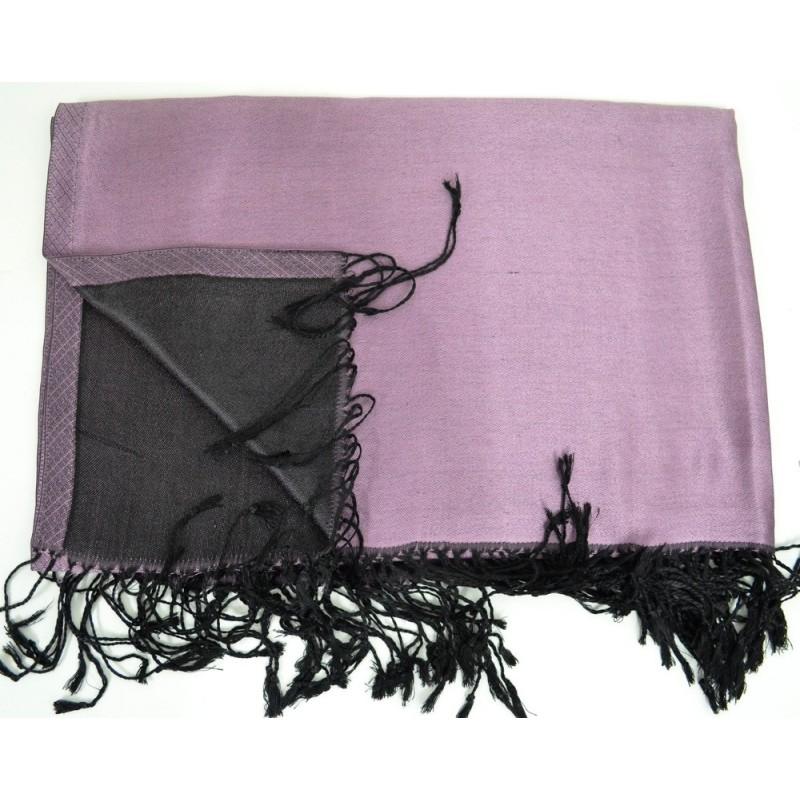 Etole en soie violet clair et noire