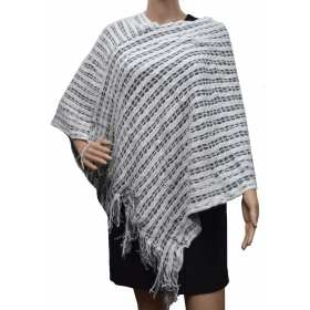 Poncho franges double rectangles blanc/gris