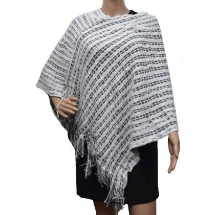 Poncho franges double rectangles blanc/gris