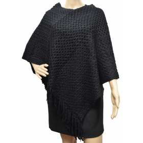 Poncho franges double rectangles noir