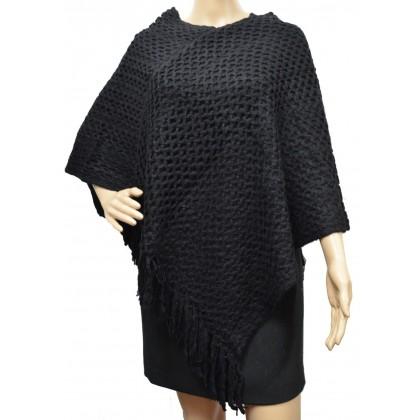 Poncho franges double rectangles noir