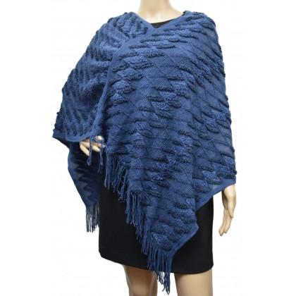 Poncho tricot zig zag bleu