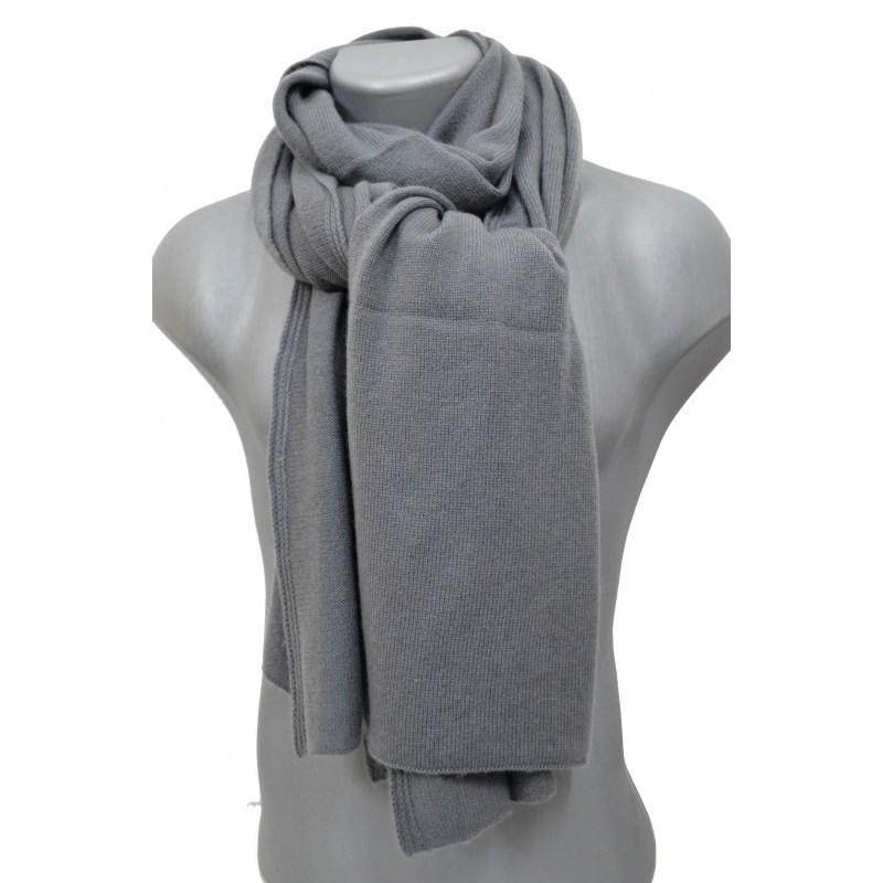 Echarpe en cachemire tricoté grise
