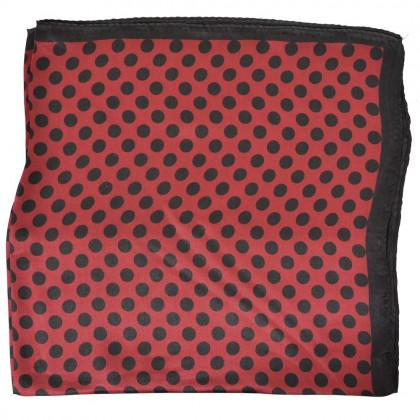 Petit carré en soie rouge à pois noirs