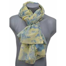 Cheche mixte polyester jaune-bleu