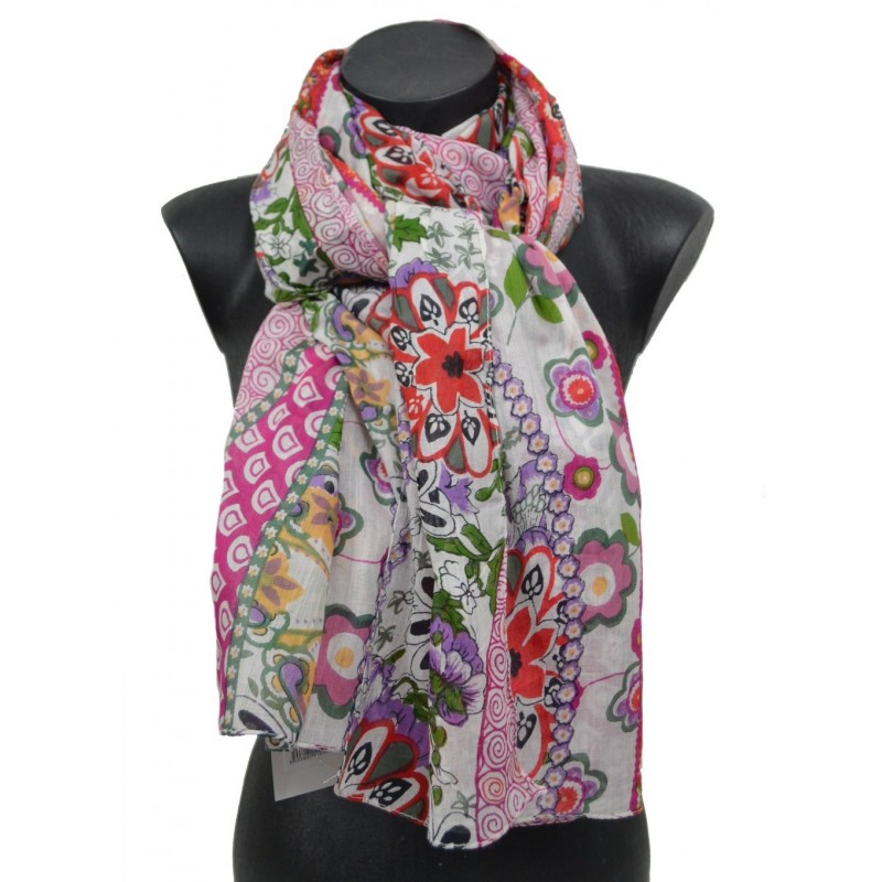 Cheche coton à fleurs rose-mauve