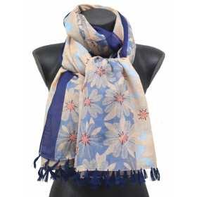 Cheche pompons à grandes fleurs bleu
