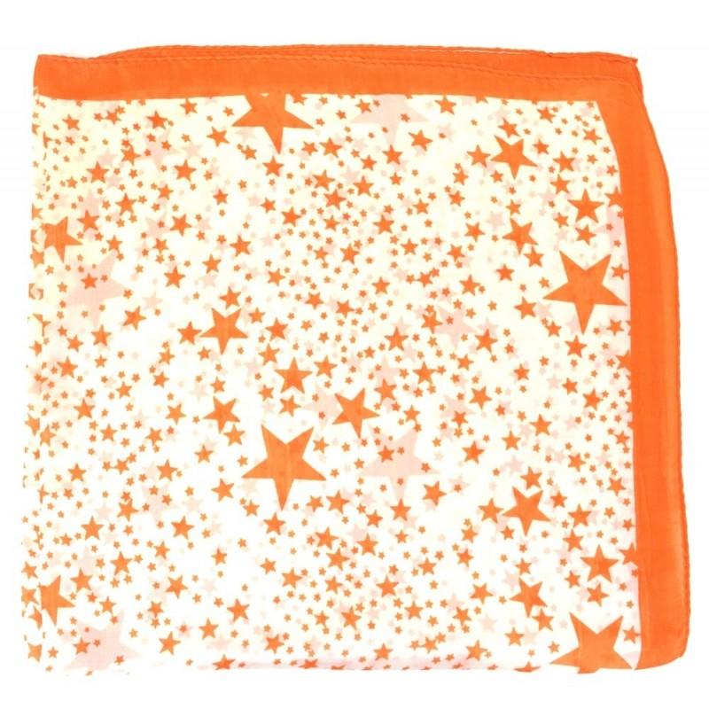 Petit carré en soie orange à etoiles