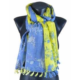 Cheche pompons bleu jean-jaune à fleurs