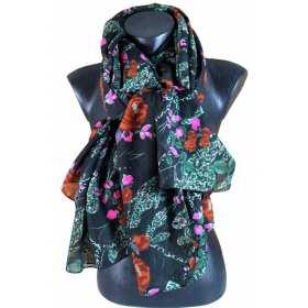 Cheche polyester noir à fleurs roses