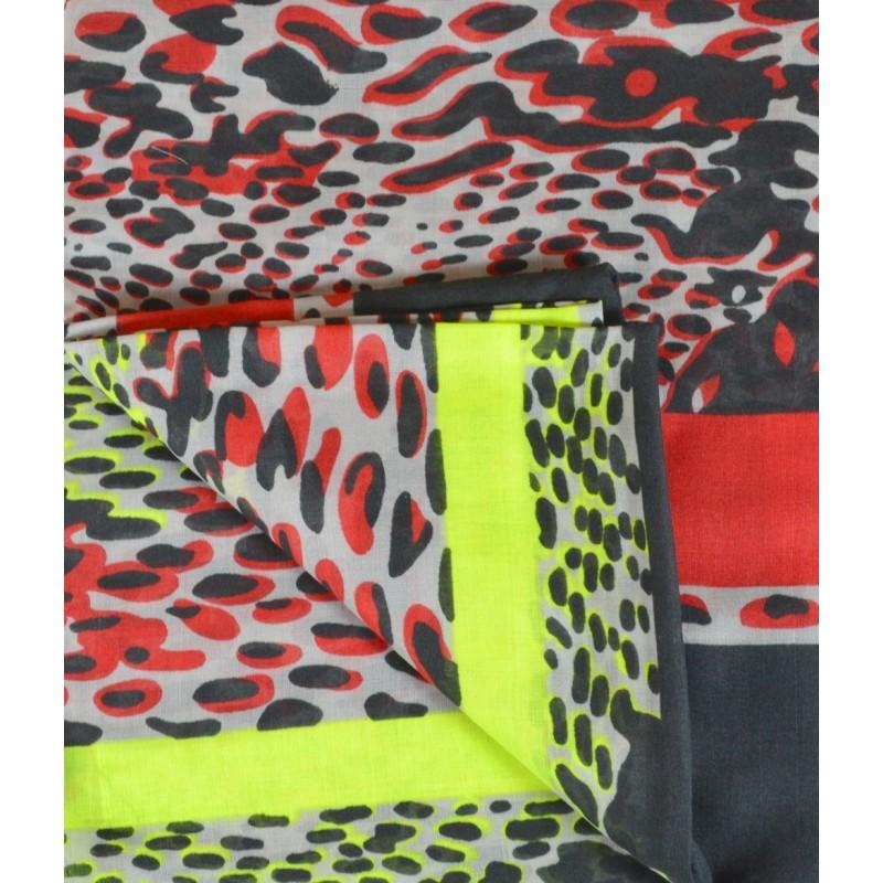 Cheche polyester noir, rouge et jaune fluo
