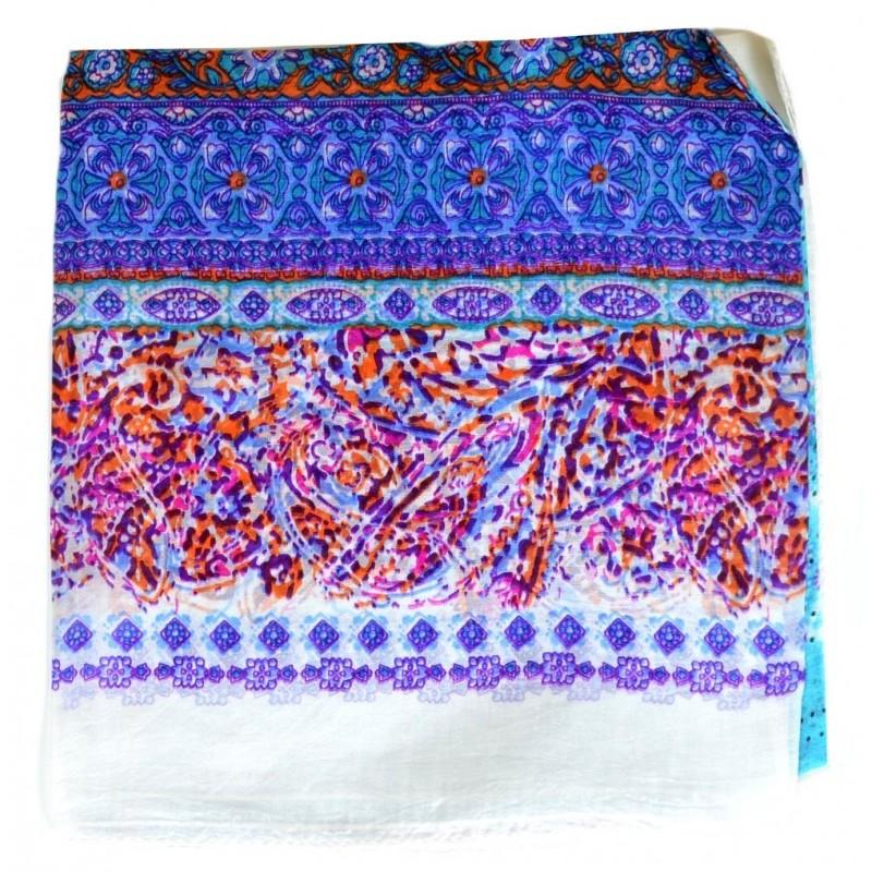 Grand carré soie blanc-violet imprimé paisley