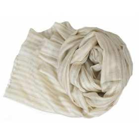 Pashmina en cachemire beige à rayures