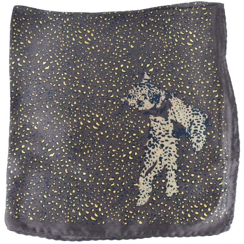 Petit carré en soie panthere