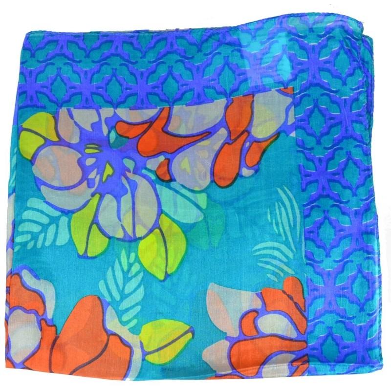 Carré en soie turquoise violet