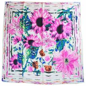 Carré en satin de soie écru fleurs roses