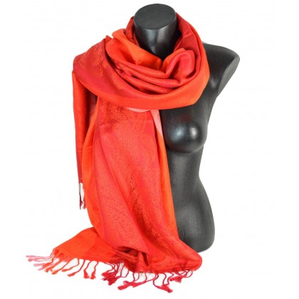 Pashmina rouge et orange