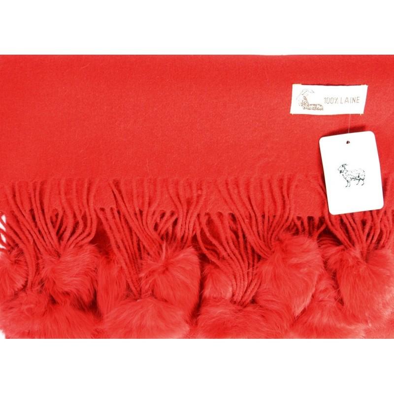 Etole laine avec pompon en lapin rouge