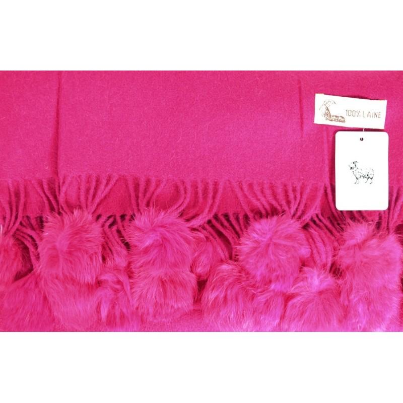 Etole laine avec pompon en lapin rose fuschia