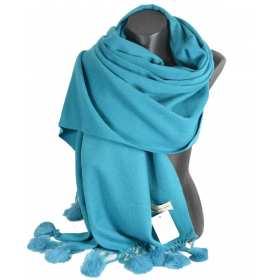 Etole laine avec pompon en lapin bleu