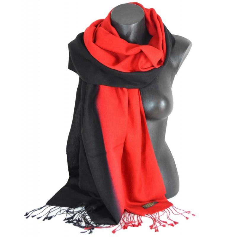Pashmina soie cachemire rouge et noir