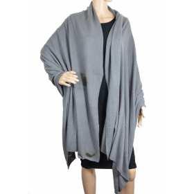 Très grand châle en cachemire gris