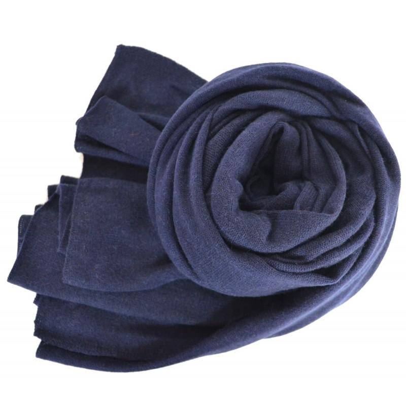 Très grand châle en cachemire bleu
