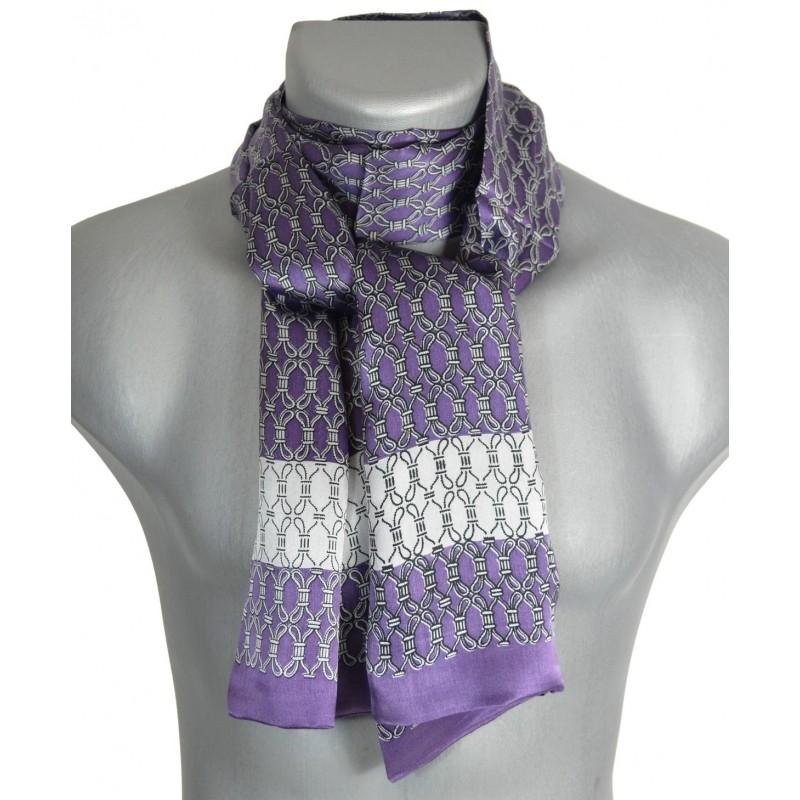 Foulard  en soie homme violet et blanc à noeuds