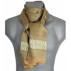 Foulard  en soie homme beige et blanc à noeuds