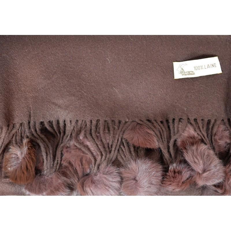 Etole laine avec pompon en lapin marron