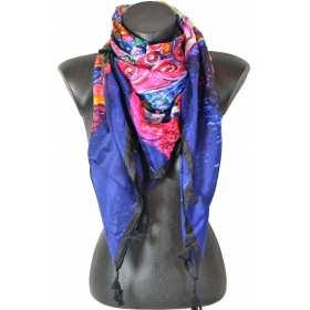 Cheche en soie Klimt bleu et rose
