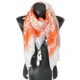 Cheche en soie pois orange