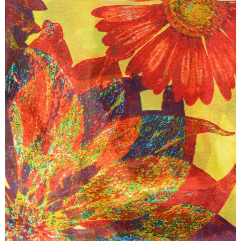 Cheche en soie jaune grandes fleurs