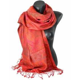 Etole en soie indienne rouge et vert